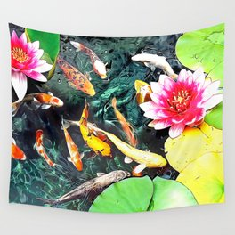 Koi and Water Lilies Wall Tapestry
