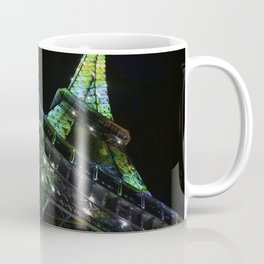 Eiffel Tower at Night with Coloured Lights Coffee Mug