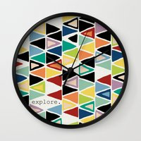 explore Wall Clocks featuring explore. by Sharon Turner