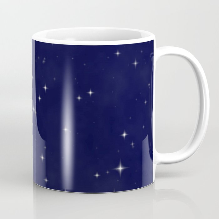Modern Navy Blue White Starry Sky Stars Pattern Coffee Mug By Pink Water Society6
