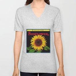 Vintage Red Orangedale Sunflower Crate Decorative Art Label Poster for kitchen or dinning room  Unisex V-Neck
