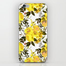 Yellow brown green watercolor hand painted roses iPhone Skin