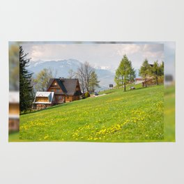 Bucolic spring meadow and house Rug