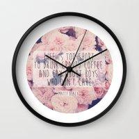 matty healy Wall Clocks featuring Matt Healy Quote by Samantha