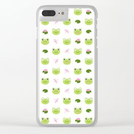 Frogs, Dragonflies and Lilypads on White Clear iPhone Case