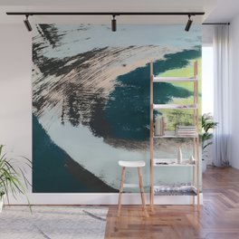 Imagine: a minimal, mixed media piece in black, white, blue, teal, yellow, and peach Wall Mural