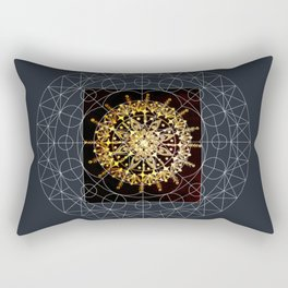 Black and Gold Hand Drawn Mandala with Digital Overlay Rectangular Pillow