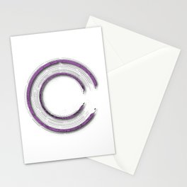 Purple abstract enso circle with mystical out of space look Stationery Cards