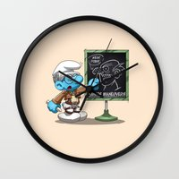 attack on titan Wall Clocks featuring Attack on Titan Smurf Edition by Purrdemonium