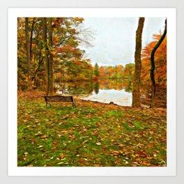 A Dreamer's Pond in Autumn Art Print