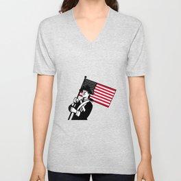 American Patriot Holding Flag Retro Unisex V-Neck