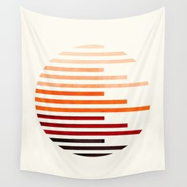 Mid Century Modern Minimalist Circle Round Photo Burnt Sienna Staggered Stripe Pattern Wall Tapestry