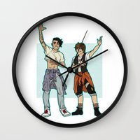 kendrawcandraw Wall Clocks featuring Be Excellent To Each Other by kendrawcandraw