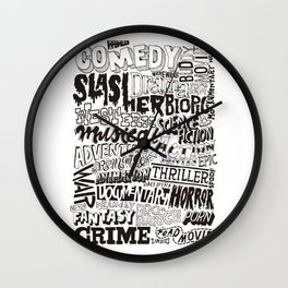 Movies Genres BW Wall Clock