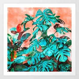 Monstera in My Backyard #painting #nature Art Print