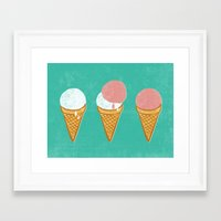 icecream Framed Art Prints featuring Icecream by atomic_ocean