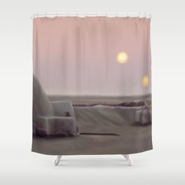 Twin Suns Dessert Shower Curtain