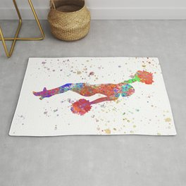 Cheerleader girl in watercolor Rug