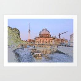 Berlin Spree Bode Museum and Alexander tower Art Print