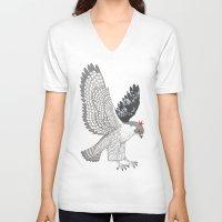 hawk V-neck T-shirts featuring hawk by talltree
