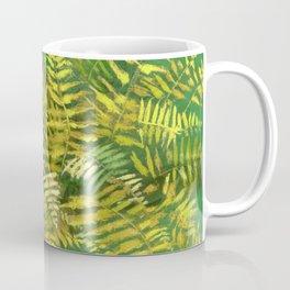 Golden Fern, Floral Painting Green Yellow  Coffee Mug