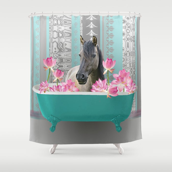 bathtub pink Lotus Flowers with Horse Shower Curtain
