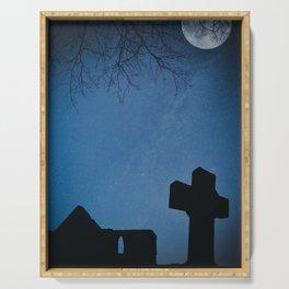 Churchyard by Moonlight Serving Tray