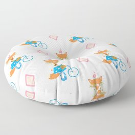 Girl Fox with Pink Diamond Floor Pillow