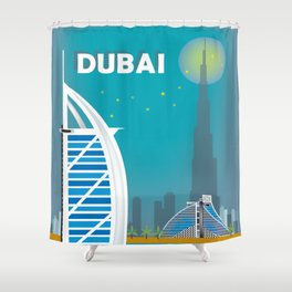 Dubai shower curtains society6 dubai united arab emirates skyline illustration by loose petals shower curtain gumiabroncs Images