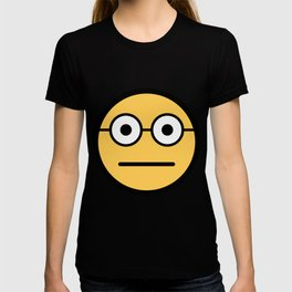 Smiley Face   Geeky Glasses Straight Face T-shirt