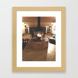 Cozy Fireplace at the Lodge Framed Art Print