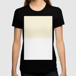 White and Cornsilk Yellow Horizontal Halves T-shirt