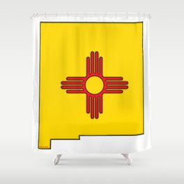 New Mexico Map with State Flag Shower Curtain