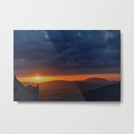 Sunset in Assisi next to Basilica of St. Francis Metal Print