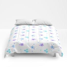 Watercolor Floral Print (blue + violet) Comforters