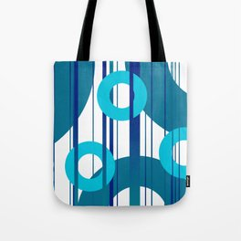 Three big and small Turquoise Rings with Stripes Tote Bag