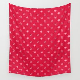 White on Crimson Red Snowflakes Wall Tapestry