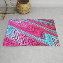 Pink and Cyan Waves Rug