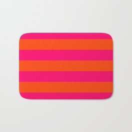 Bright Neon Pink and Orange Horizontal Cabana Tent Stripes Bath Mat