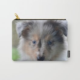 Blue-eyed Portrait of a Shetland Sheepdog Puppy Carry-All Pouch