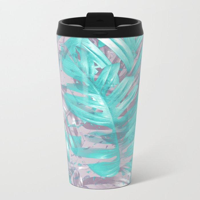 Teal and Silver foliage Metal Travel Mug