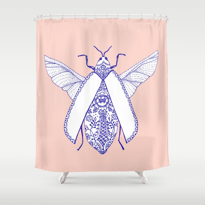Porcelaine Bug Shower Curtain By Sylviedemes