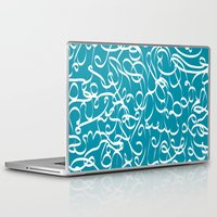 crossfit Laptop & iPad Skins featuring @NEW Modern Ribbon | Teal by Joel M Young