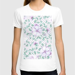 Modern botanical hand painted lilac green floral polka dots T-shirt