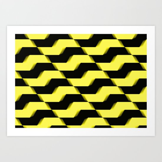 Yellow and black pattern Art Print