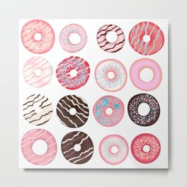 Vector sweet pink, brown, beige donuts Metal Print