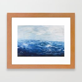 Paint 10 abstract water ocean seascape modern painting dorm room decor affordable stretched canvas Framed Art Print