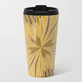 Yellow and Ochre Flower Pattern Abstract 2 Travel Mug