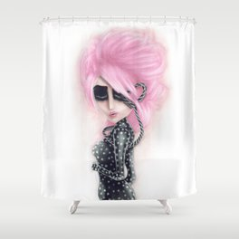 Pinkanhy Polka Shower Curtain
