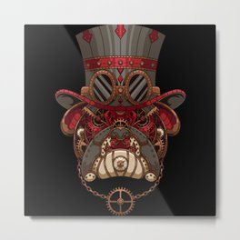 Steampunk Mechanical Bulldog Gentleman Metal Print